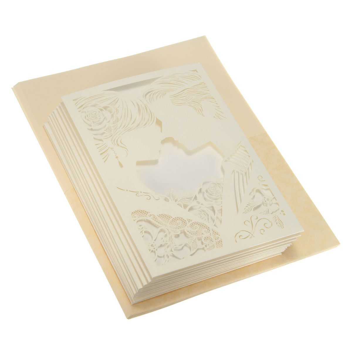 10Pcs Laser Cut Couple Hollow Out Wedding Evening Invitations ...