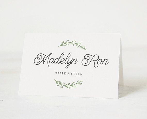 Printable Place Card Template Printable Place Card By Paperdainty