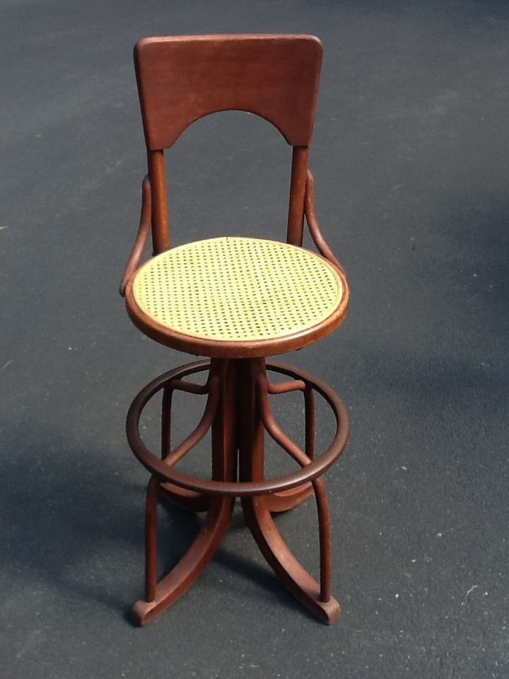 Antique Telephone Switchboard Operator's Bentwood Cane Seat Swivel Chair  Stool - Antique Telephone Switchboard Operator's Bentwood Cane Seat Swivel