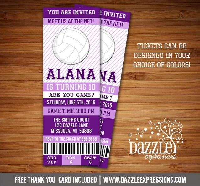 Printable Volleyball Ticket Birthday Invitation Can be any color - ball ticket template