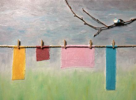 La corde à linge - Tableau figuratif et poétique - Peintures Wilcox  : Peintures par peintures-wilcox