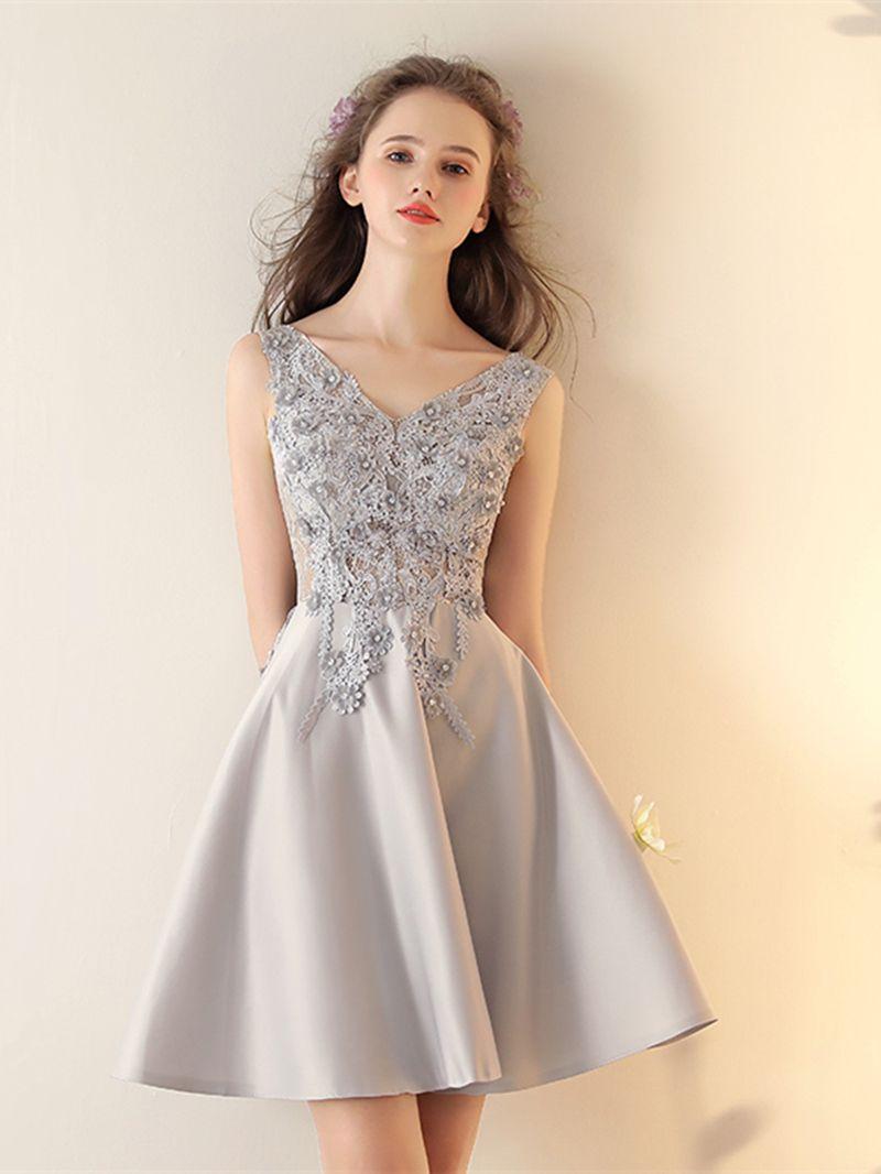 Aline appliques sleeveless beading short homecoming dress short