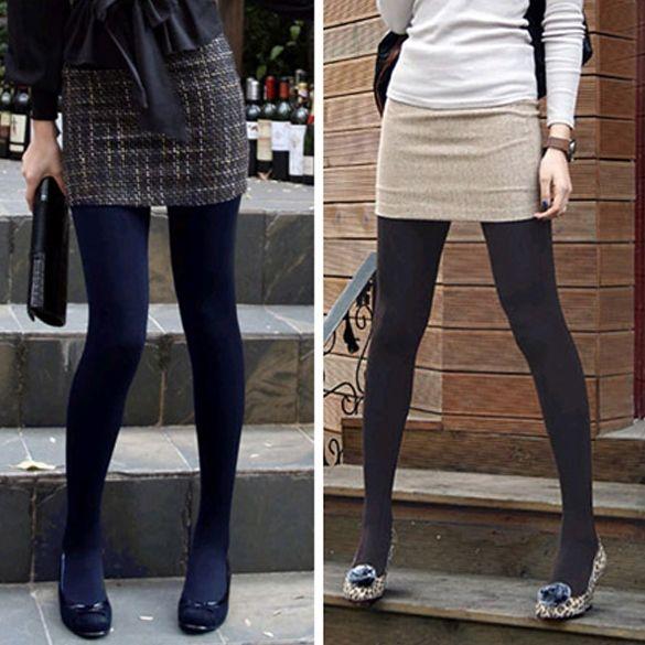 d085b1e88 Winter Fashion Slim Fleece Tights Pantyhose Warmers Women Stockings 5 Colors