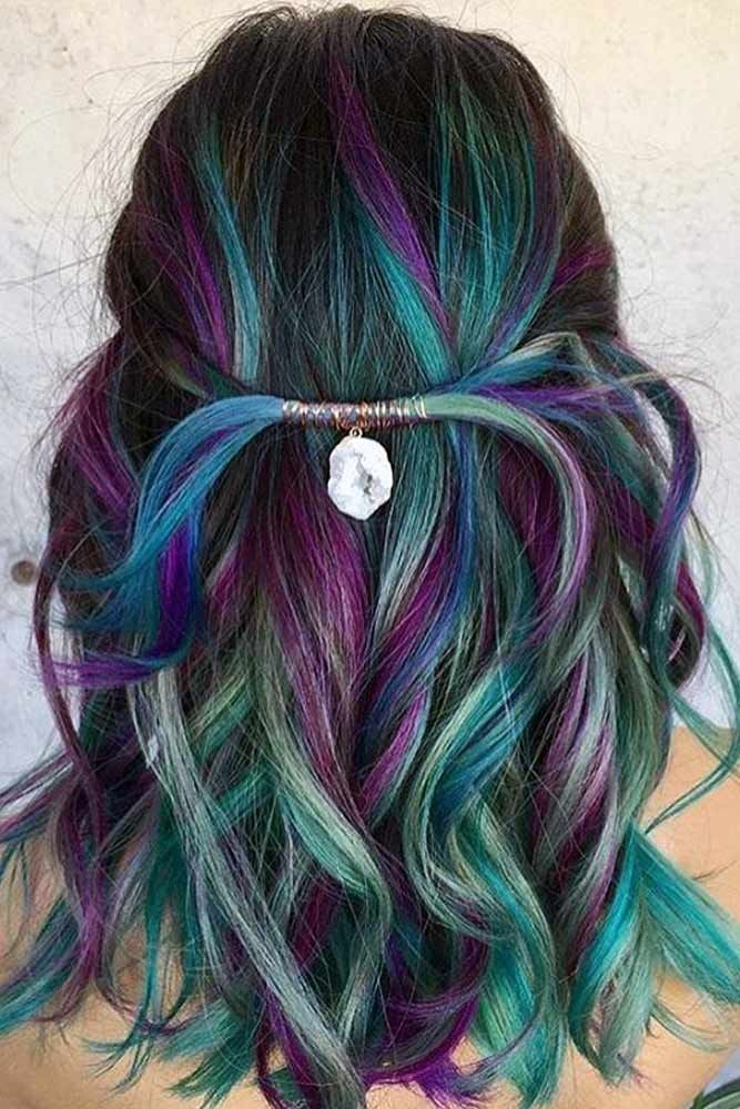 43 Hair Color Ideas For Brunettes Bright Hair Peacock Hair Color Hair Styles