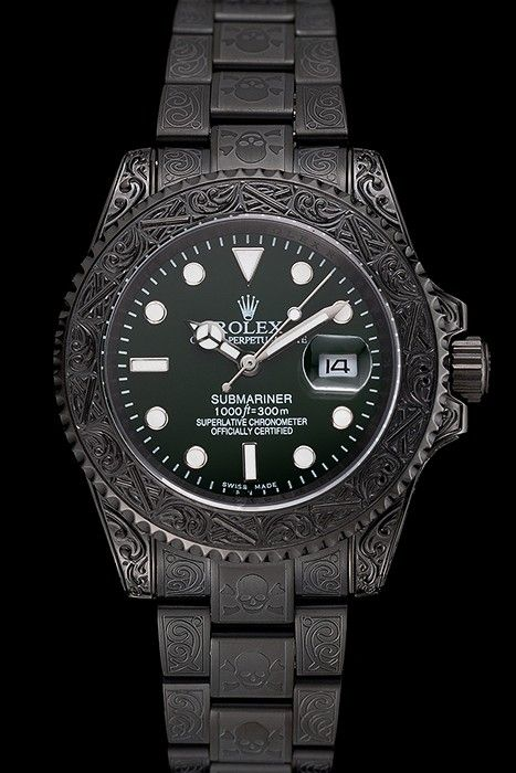 eeeade0ad28 Rolex Submariner Skull Limited Edition Green Dial All Black Case And  Bracelet 1454076