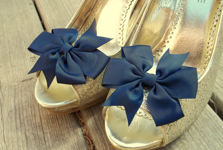 Wedding shoe clips bridal shoe clips grosgrain bow shoe clips