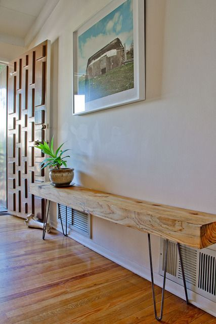 reclaimed wood bench in entry