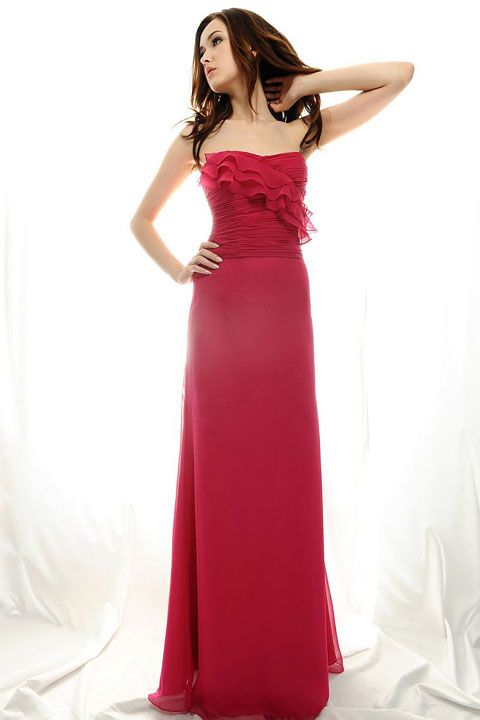 dd16f75666 Strapless A-line with ruffle embellishment chiffon bridesmaid dress ...