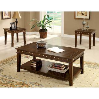 furniture of america 'theresa' 3-piece rustic nailhead trim coffee