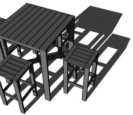 Outdoor Modern Bar Table X Base Free Step By Diy Plans From Ana White Plan