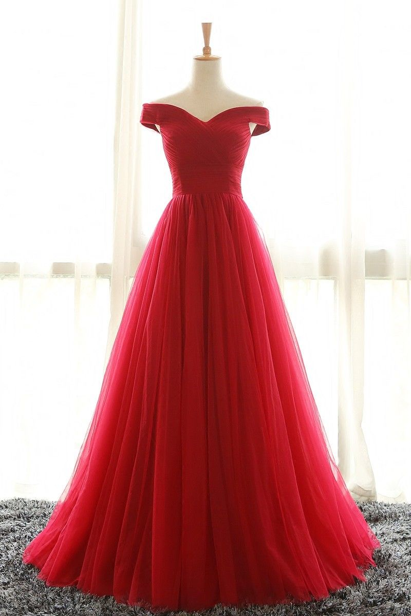Full length off shoulder sleeves red bridesmaid dresses tulle prom