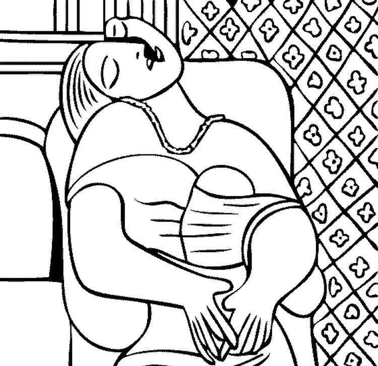 Adult coloring page Picasso : The Dream 6 | Artist Picasso ...