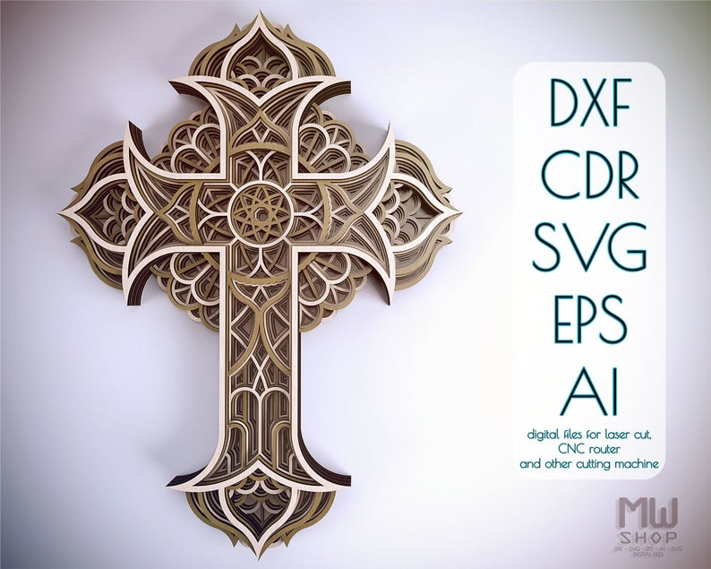 2219+ Free Layered Cross Mandala Svg – SVG,PNG,EPS & DXF File Include