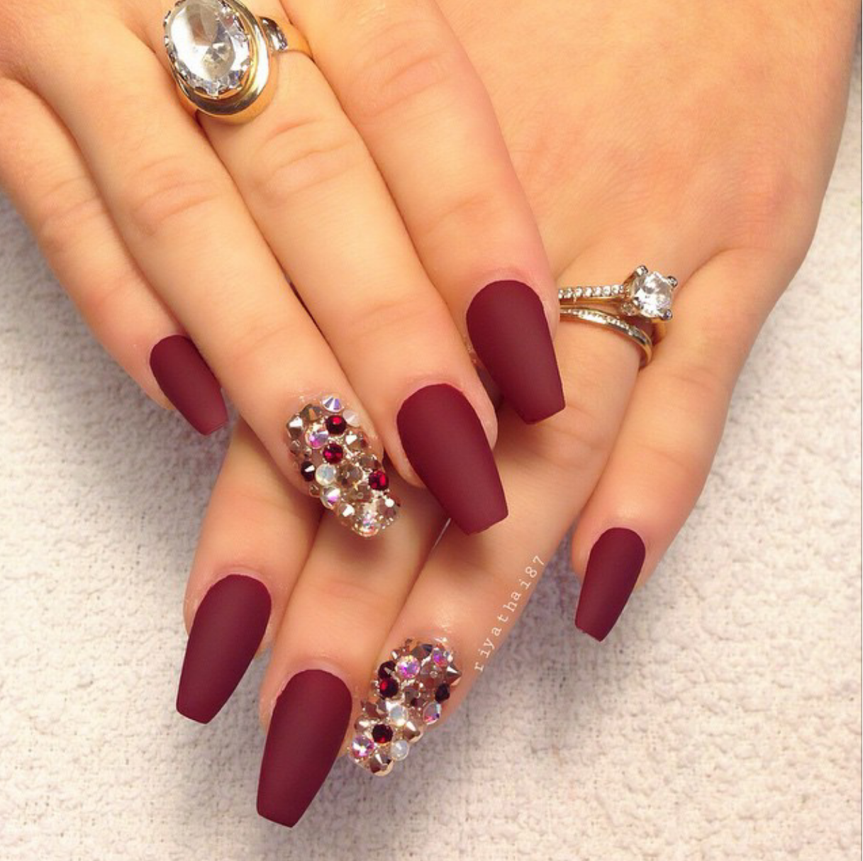 Riyathai87 Burgundy Matte Nails With Garnet Gold Ab Swarovski