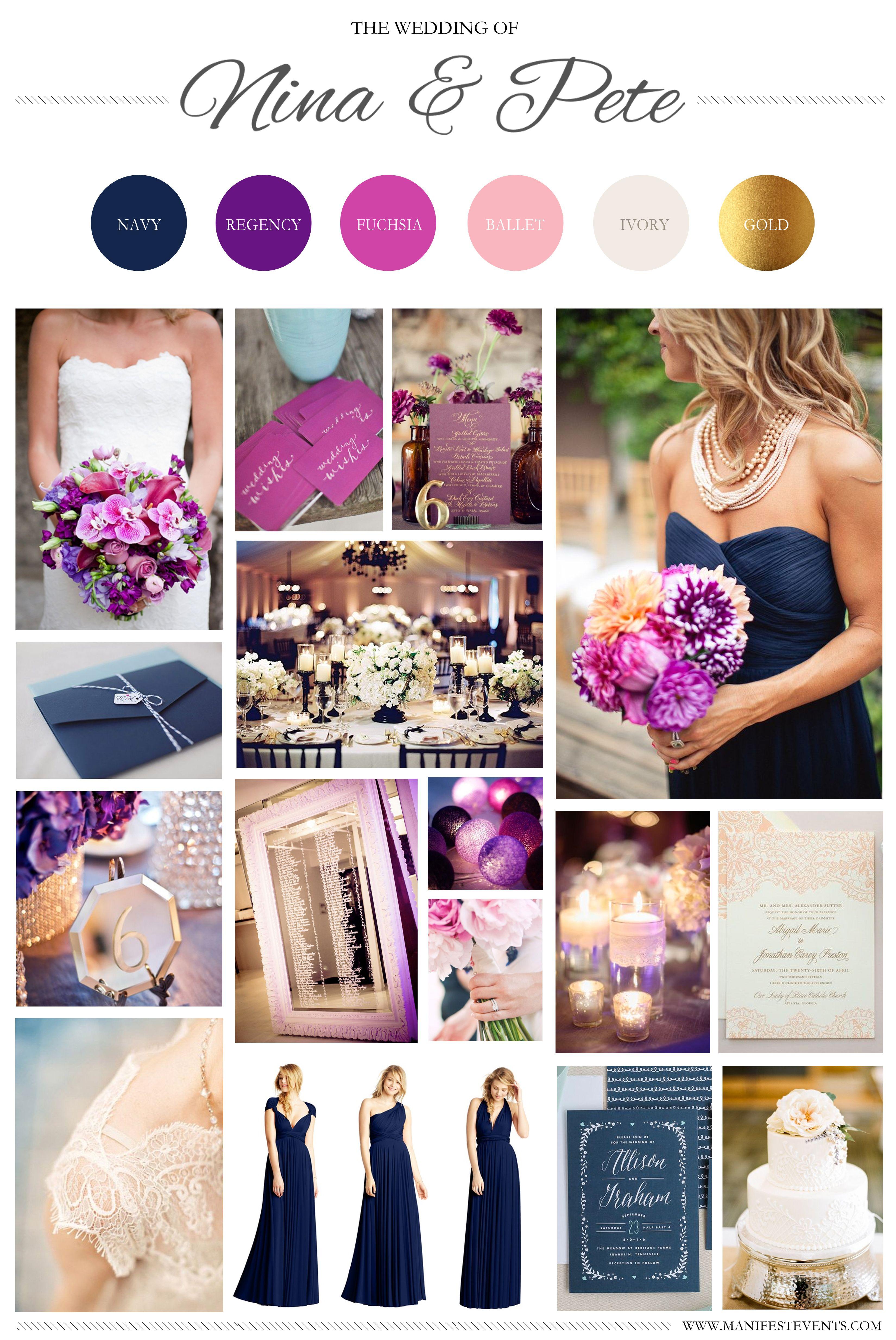 A Purple Navy Pink Gold Wedding Board Www Manifestevents