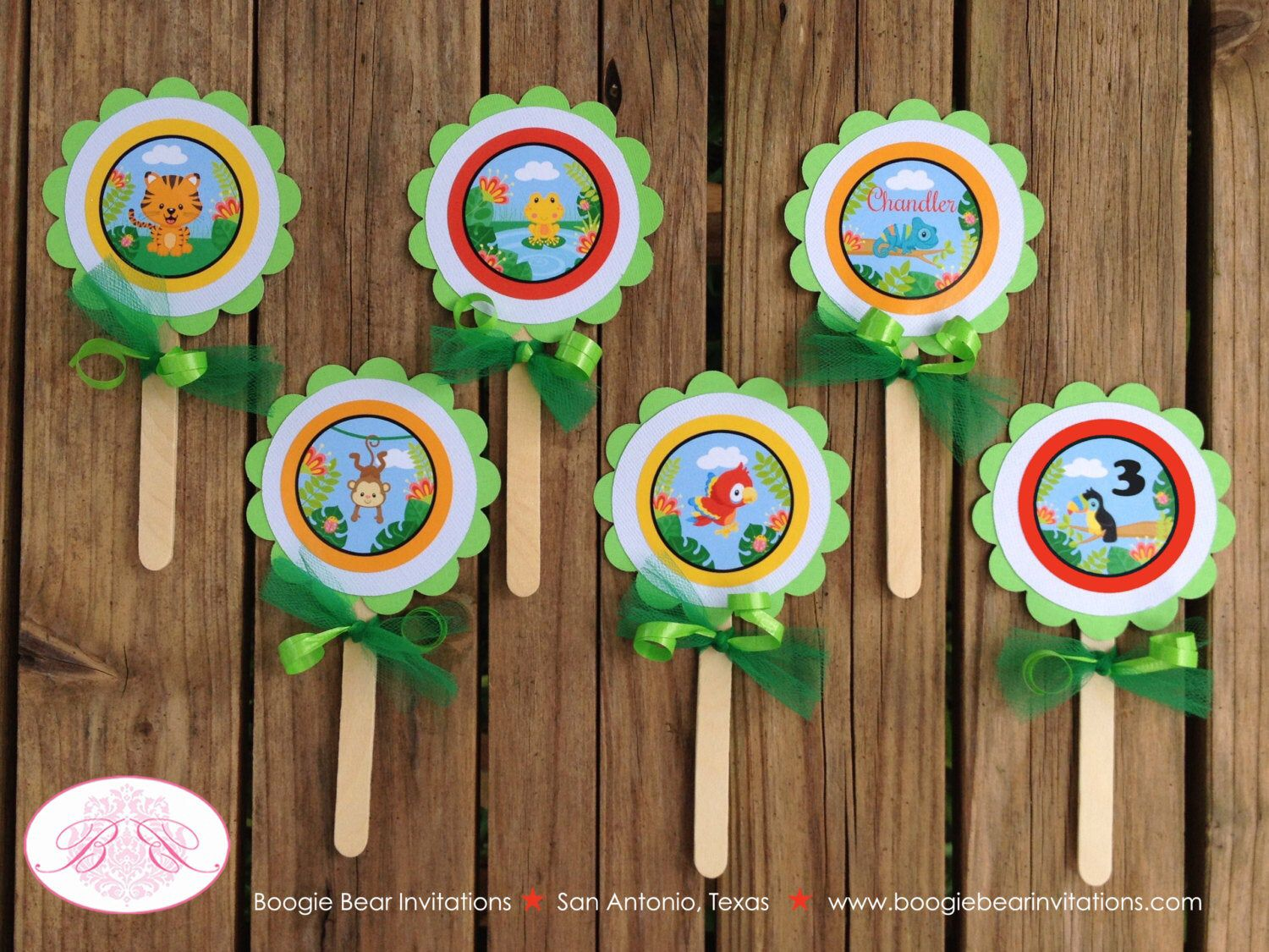 Rainforest Birthday Party Cupcake Toppers Boy Girl Monkey