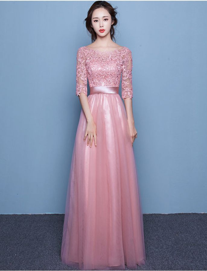 1950s Vintage Inspired Style Modest Lace Evening Prom Dress ...