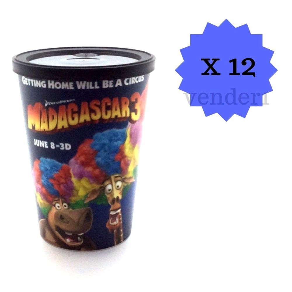 New Madagascar 3 Movie Theater 12oz Reusable Cups with Lids 12-Count
