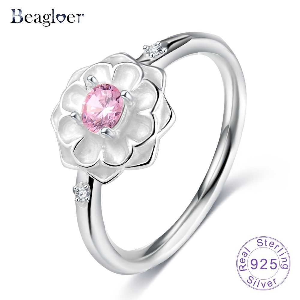 Beagloer 100% 925 Sterling Silver Blooming Dahlia Wedding Rings For ...