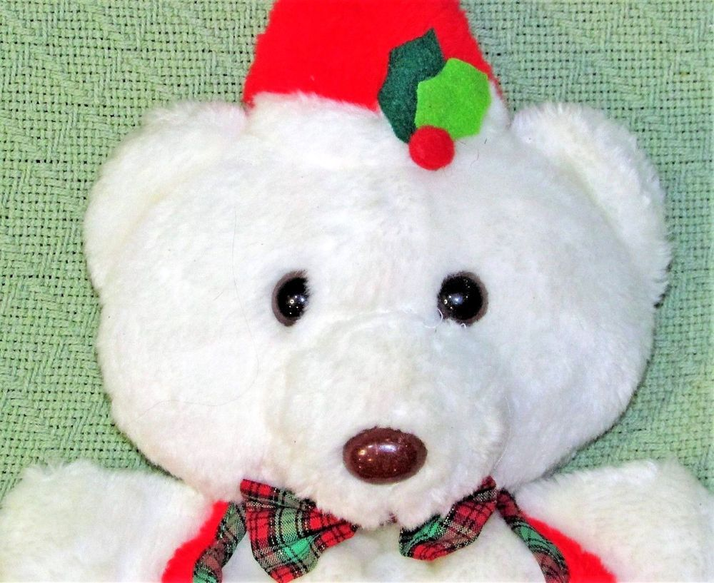 Vintage Teddy Bear Stocking Plush Christmas Made In Taiwan White Red