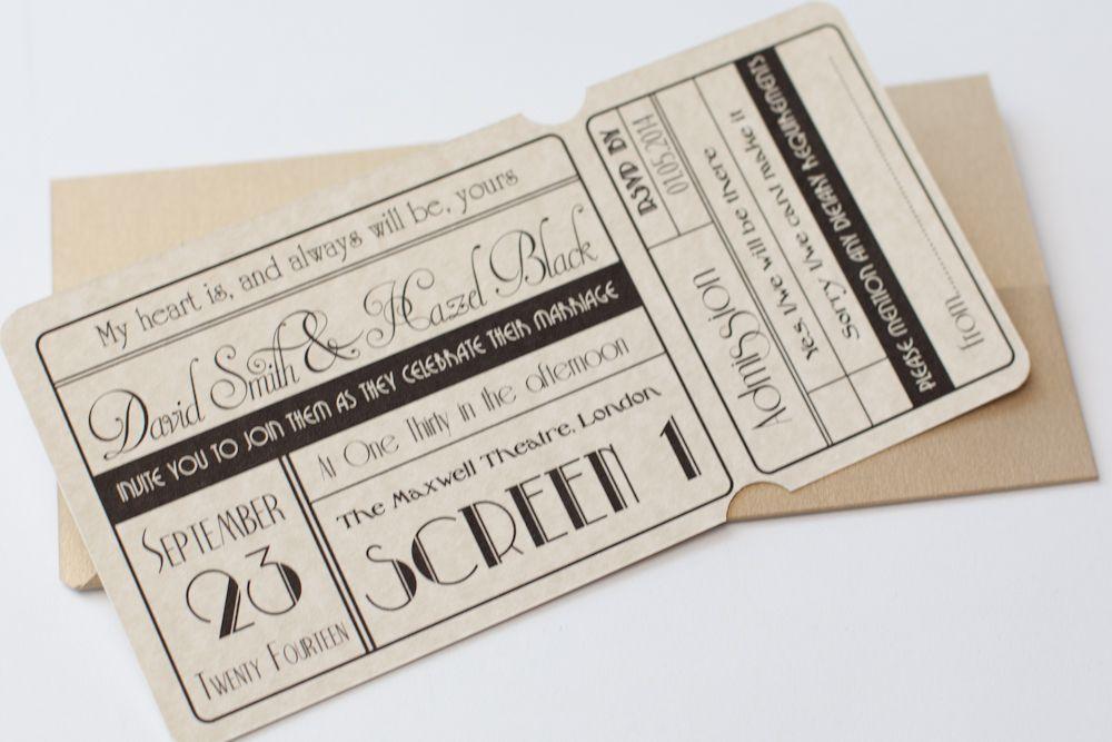 Unique Cinema Ticket Wedding Invitation with Wallet - Vintage ...