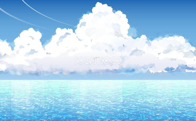 リアル綺麗な海と入道雲積乱雲の背景無料フリーイラスト25926 素材