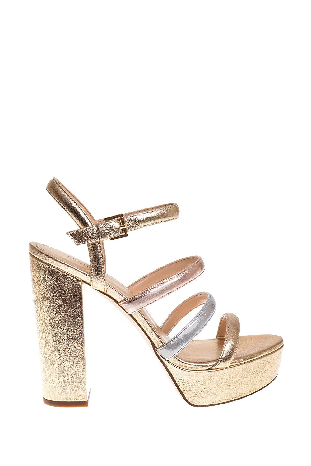 5c9e3f3ef37 Michael Kors Nantucket Leather Platform Sandal In Pale Gold Silver     Want  additional info