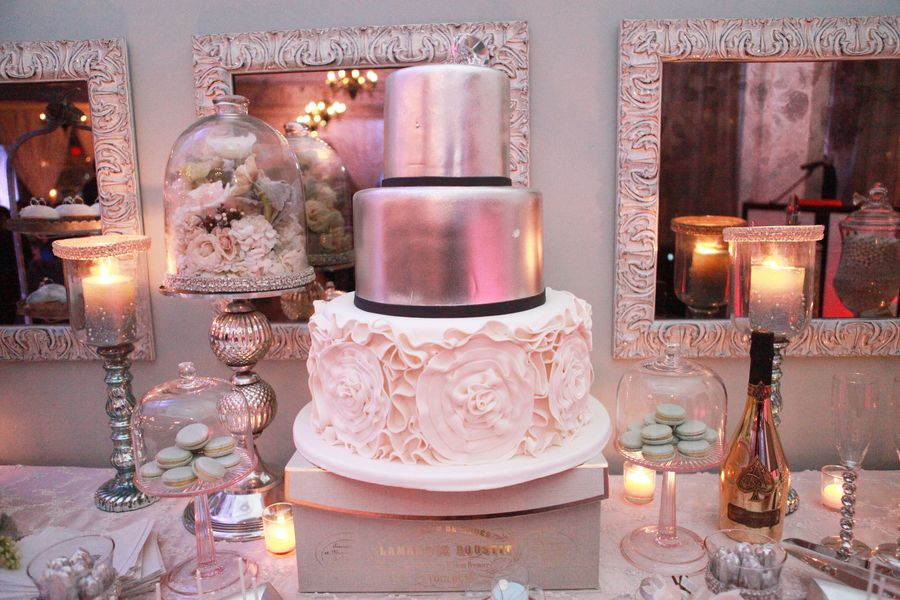 A Glamorous Pink White Silver Engagement Party Engagement
