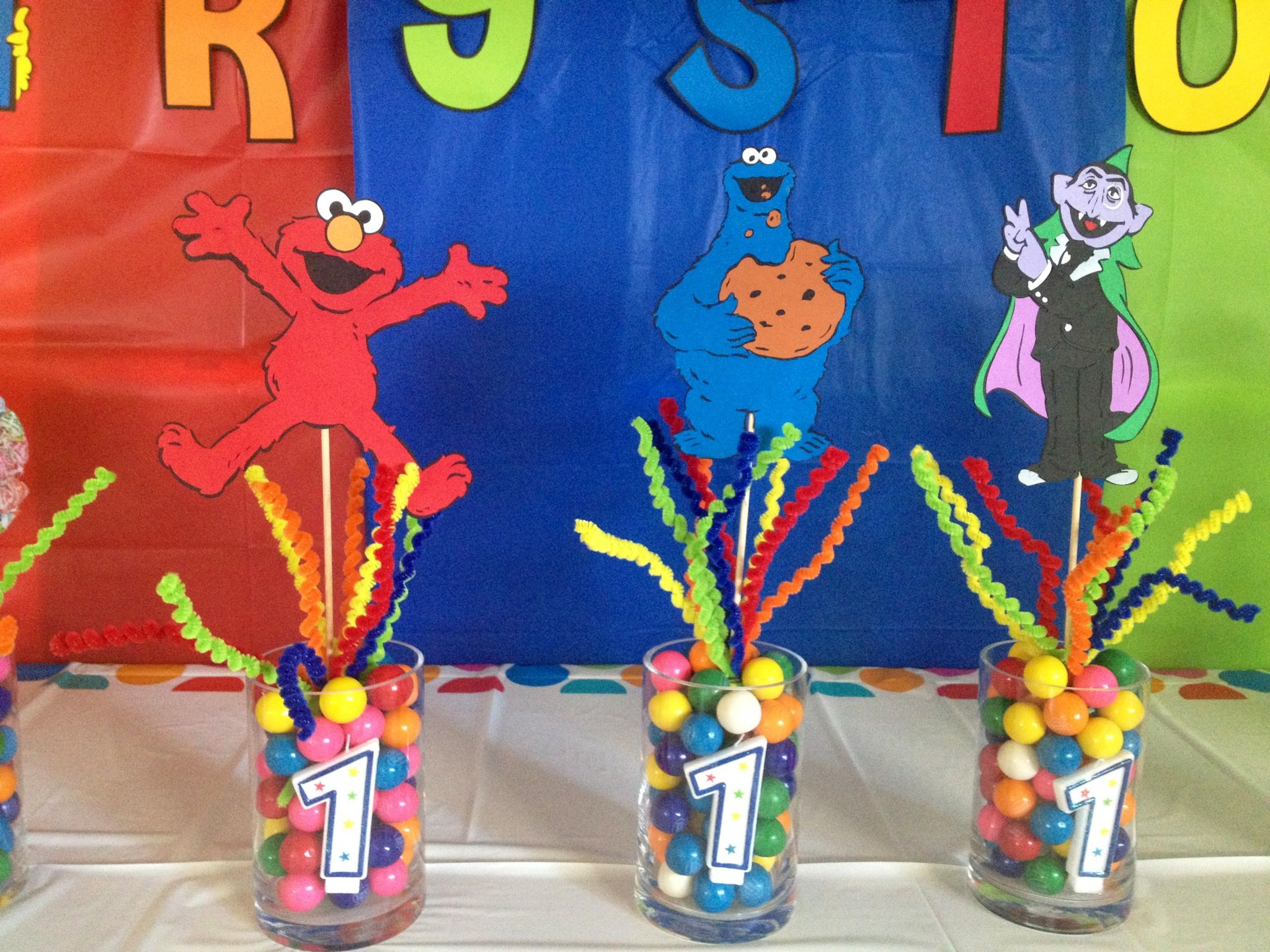 Centerpieces Birthday Tables Ideas miles first birthday centerpiece primary color theme Sesame Street Birthday Centerpiece