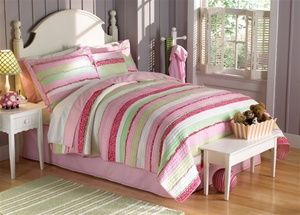 Girls Pink Striped Bedding