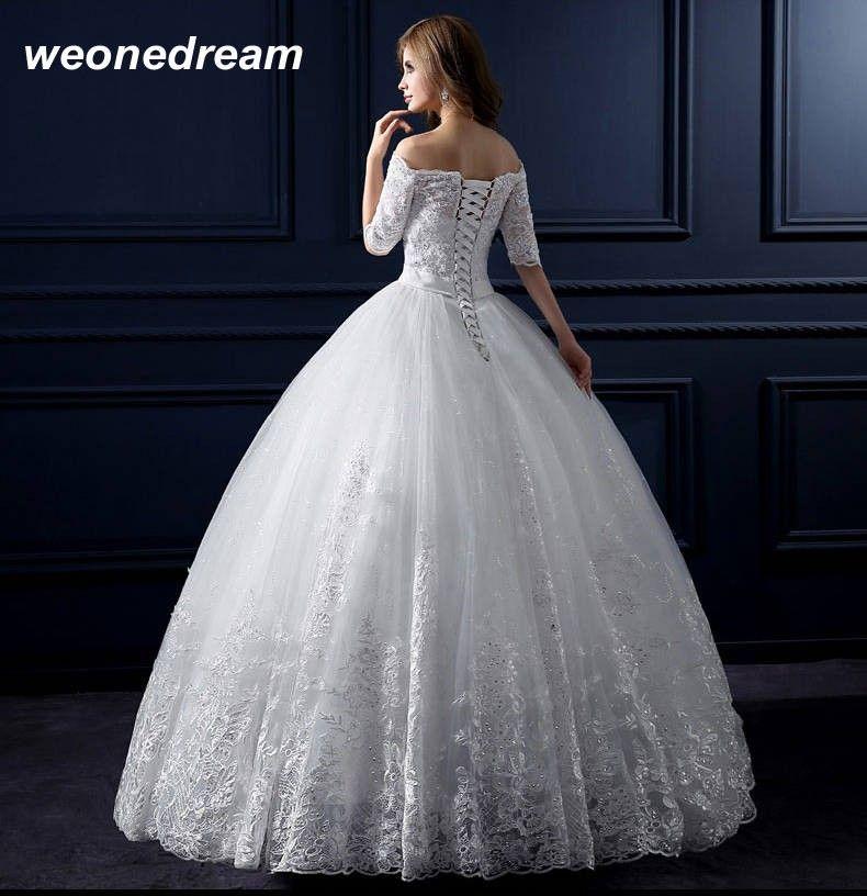 الأبيض الكريستال العروس فستان الزفاف الحوامل أزياء ريترو خط العروس ثوب رسمي نصف كم العاج الرباط قبالة الكتف في Autumn And W Wedding Dresses Dresses Bride Gowns