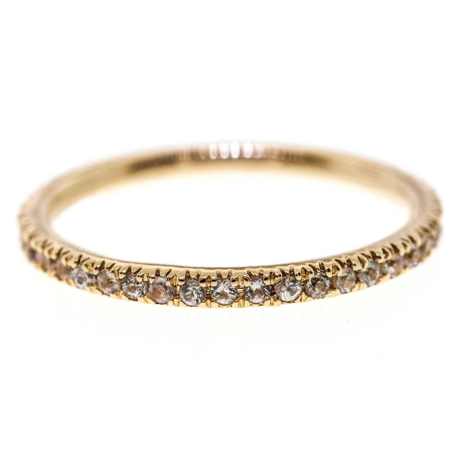 0 50 Cttw White Sapphire Ultra Thin Eternity Wedding Band in 14K