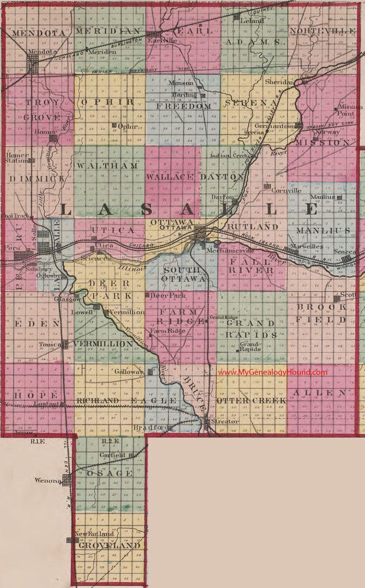 Streator Illinois Map.Lasalle County Illinois 1870 Map Ottawa Streator Marseilles Peru