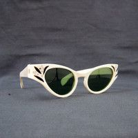 3d721fbae45bc 50s Sunglasses Vintage White Rhinestone Cateye Catseye Sun Glasses by Foster  Grant