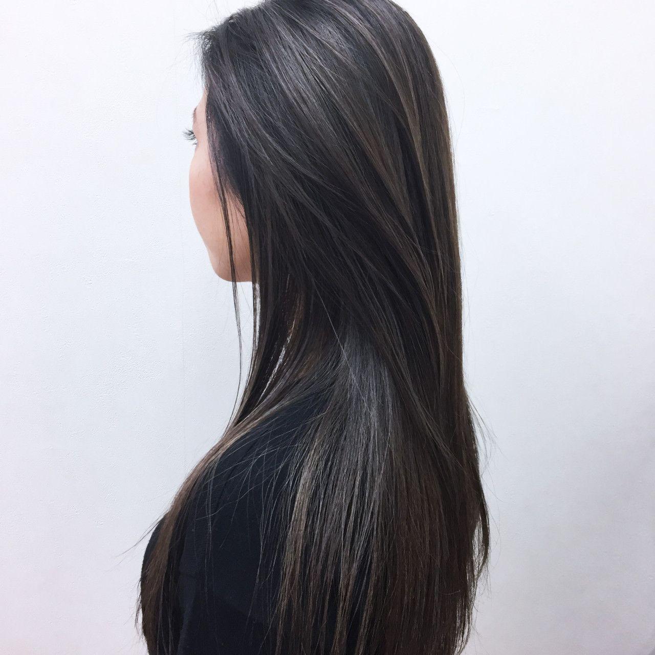 メリハリのあるハイライト ローライト 黒髪ハイライト ハイライト
