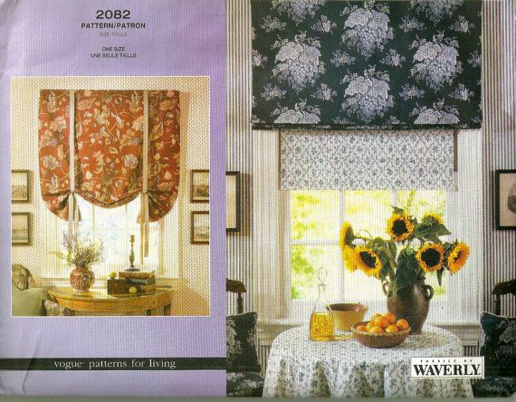 Vogue 2082 Roman Shades Pattern Home Decor Window Treatments Sewing Pattern  By Mbchills