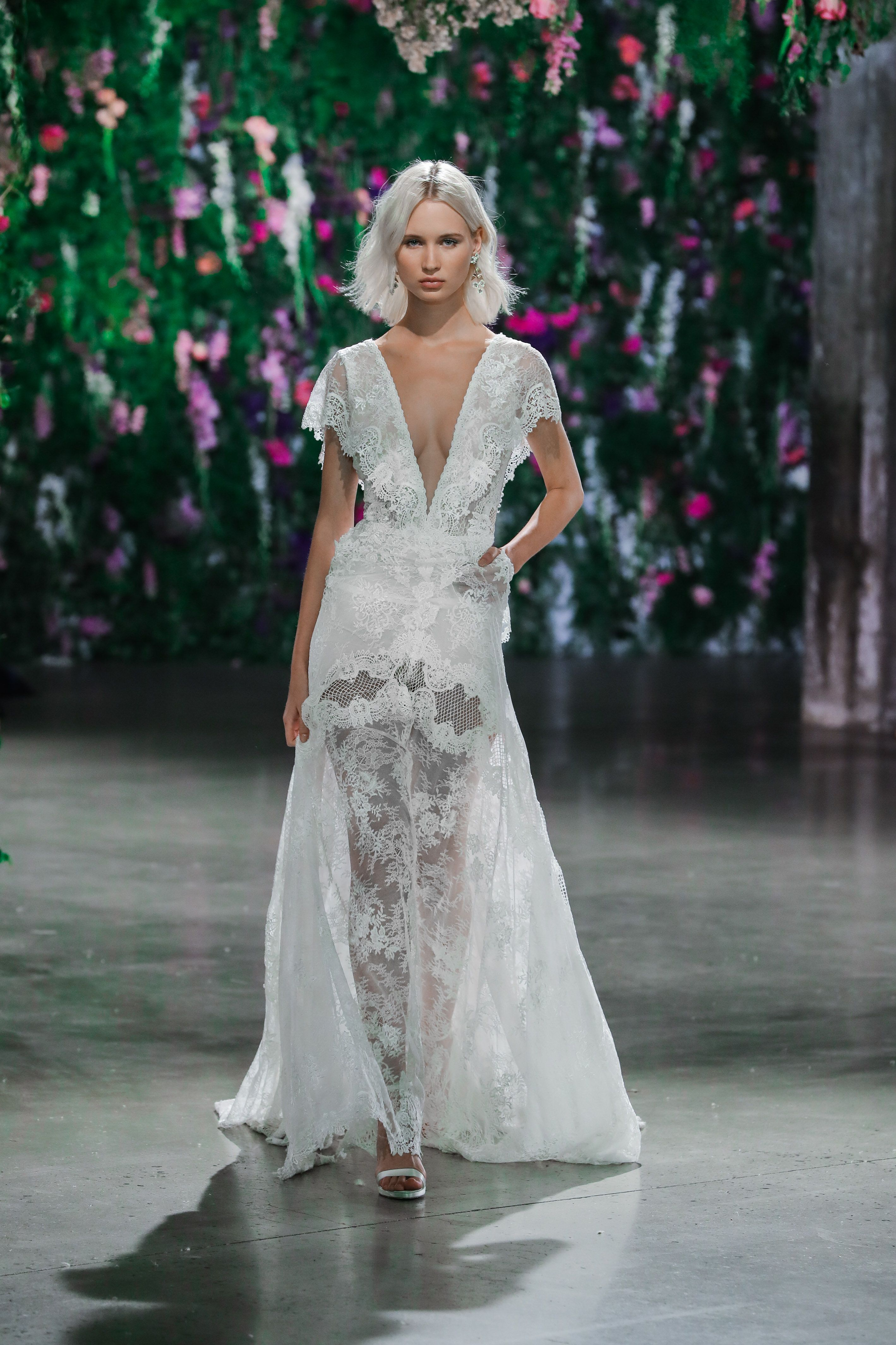 GALA 1003 French lace sheath dress with a deep pluging v neckline