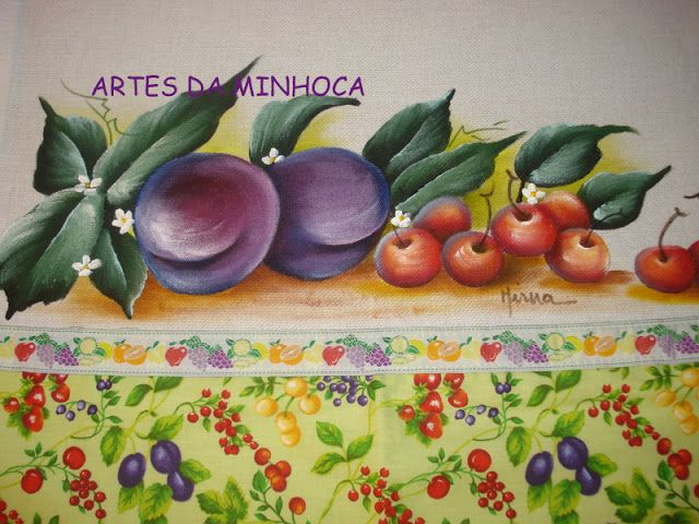 Pintura em Tecido Passo a Passo: Pintura em tecido ameixas e cerejas