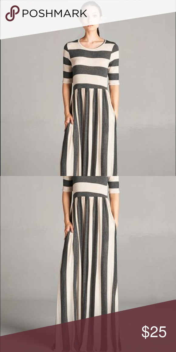 ff319d06ab Tan and charcoal striped maxi dress Size medium and brand new. Super  stretchy and fairly light weight. Did not come with tags but has only been  tried on ...