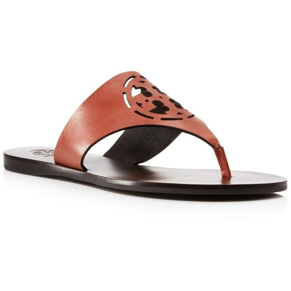 Tory Burch Zoey Cutout Thong Sandals ($137) ❤ liked on Polyvore featuring shoes, sandals, cognac cream, rubber sole shoes, flat thong sandals, cut-out shoes, thong sandals and cream sandals