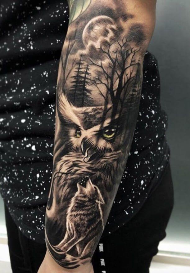 12 Best Wolf And Owl Tattoo Ideas Petpress In 2020 Owl Tattoo Sleeve Nature Tattoo Sleeve Wolf Tattoo Sleeve