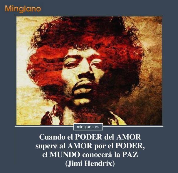 Frase de Jimi Hendrix en español sobre como lograr que el mundo este en paz