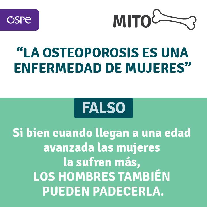Desterramos otro mito. Esta dolencia afecta tanto mujeres, como hombres. Si presentás algunos de los síntomas relacionados a la osteoporosis, no dudes en consultar a tu médico de cabecera.