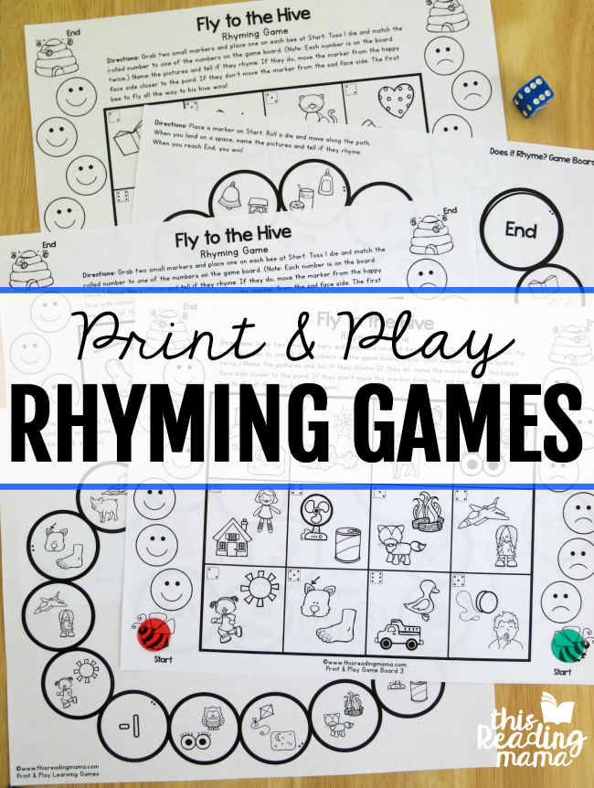 Print and Play Rhyming Games Rhyming games, Rhyming