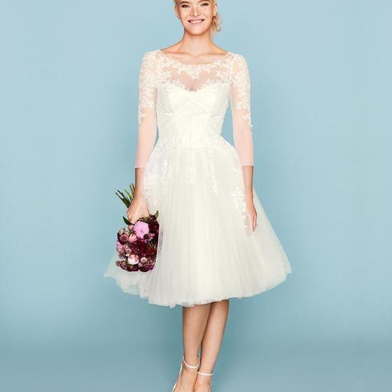 Truly Zac Posen 3/4 Sleeve Short Wedding Dress - Davids Bridal ...