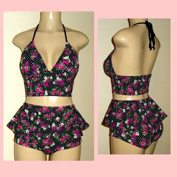 Tankini swimsuit short long body skirt bottoms women's halter tankini peplum skirt-bottom ruffle pin up swimsuits custom bathing suits 2