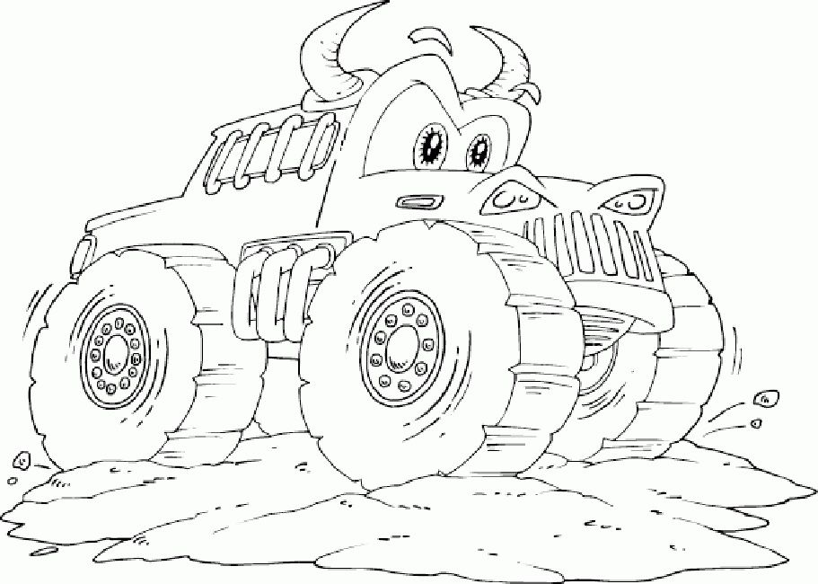 Scooby Doo Monster Truck Coloring Page Monster Truck Coloring