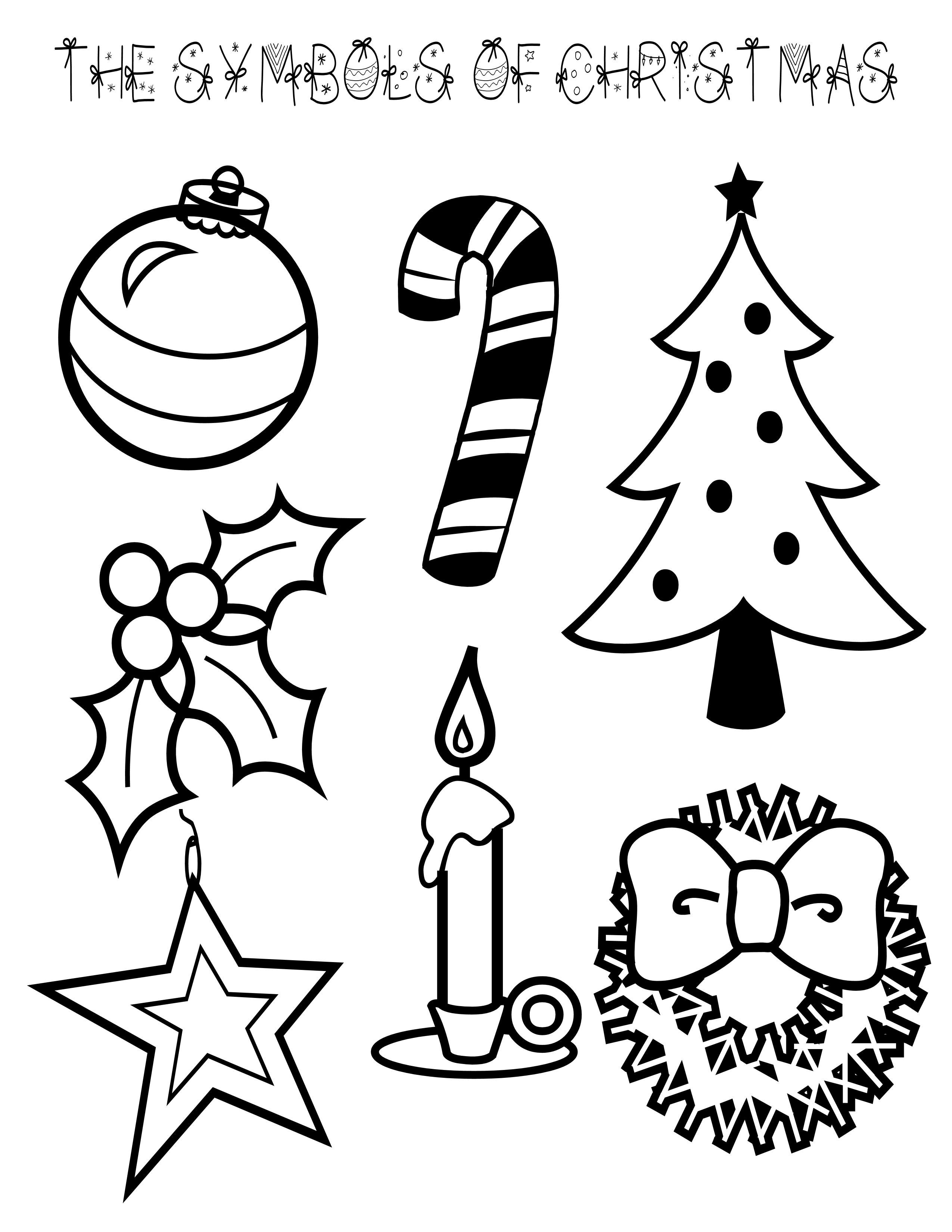 Symbols of Christmas Coloring Page  Christmas coloring pages