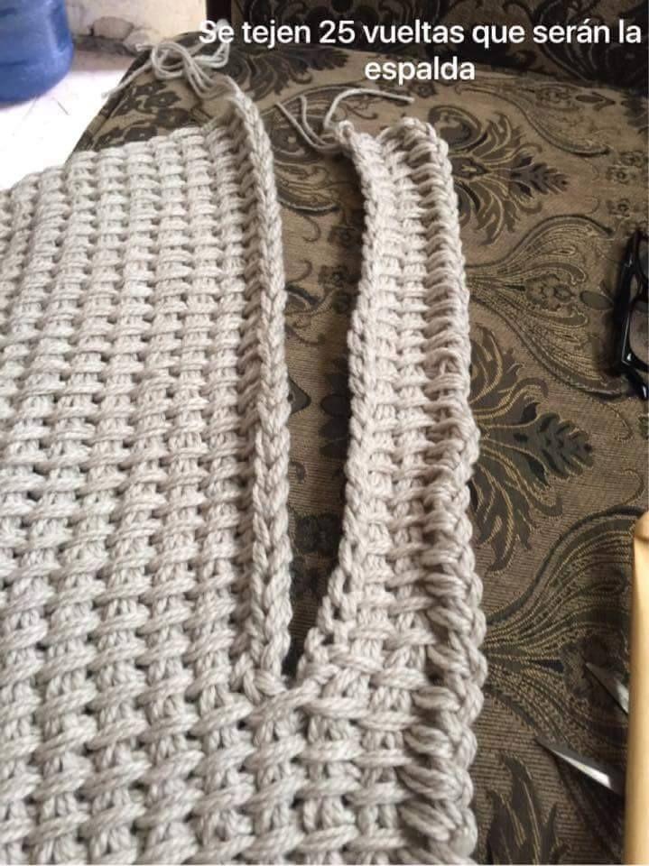Foto tutorial de armilla (o chaleco) hecha con ganchillo tunecino ...