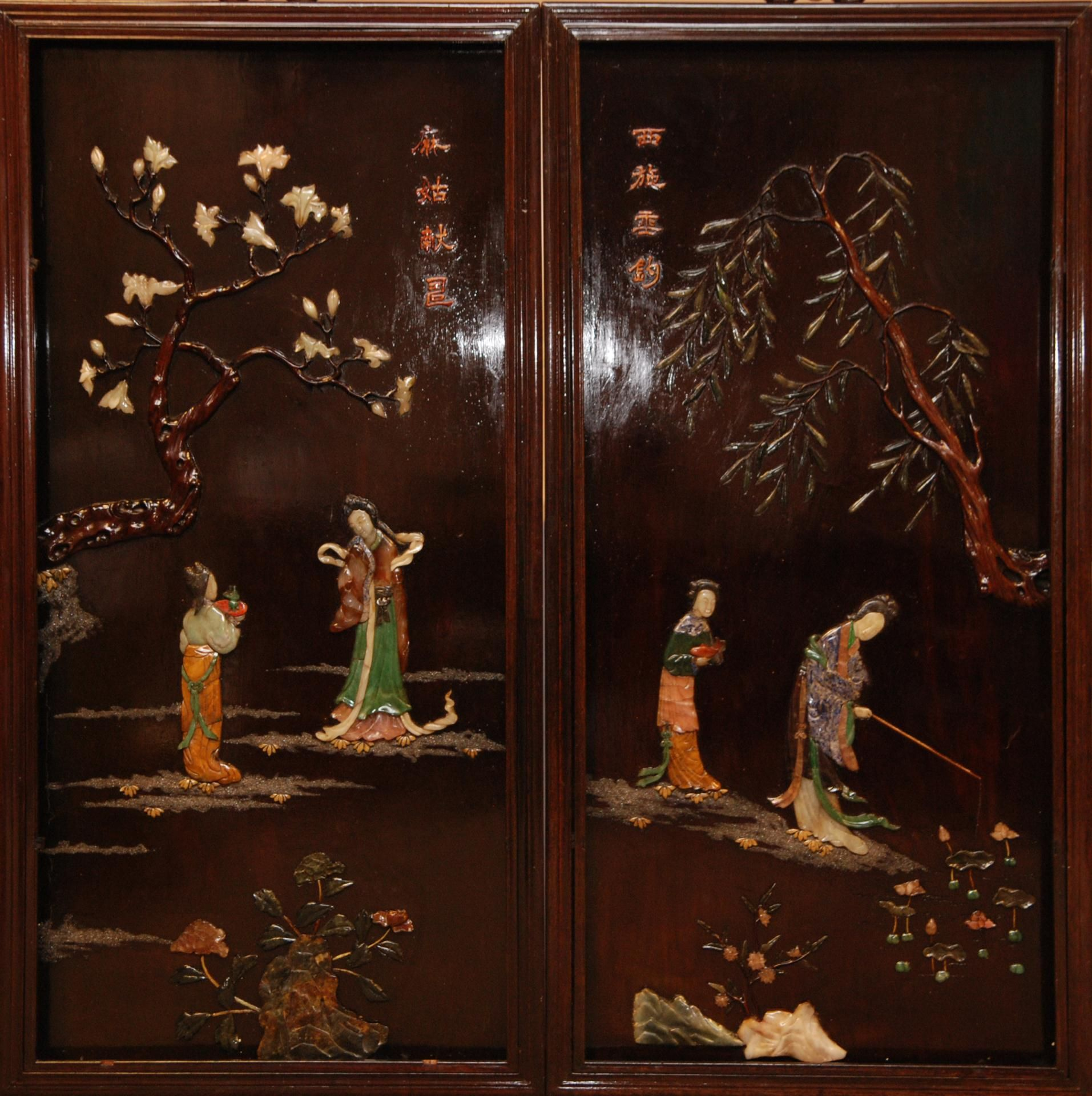 Chinese Carved Painted Wood Laquer Panels